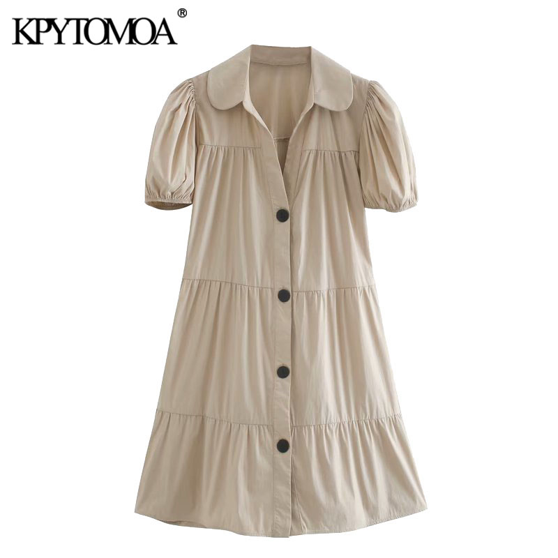 KPYTOMOA Women 2020 Chic Fashion Button-up Loose Mini Dress Vintage Lapel Collar Puff Sleeves Female Dresses Vestidos Mujer