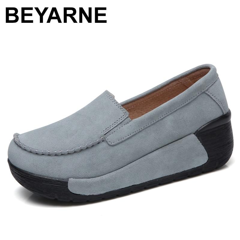 BEYARNEBrand Spring Autumn Loafers Women Flats Fashion Flat Platform Shoes Female Loafers Slip On Womens Ladies ShoesE961Womens Flats   -