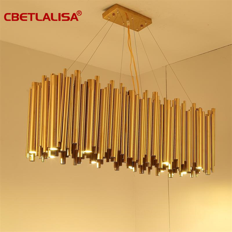 Italy Design Gold Delightfull Brubeck Chandelier Aluminum Alloy Tube Suspension Luminaire Fashion Project Lamp
