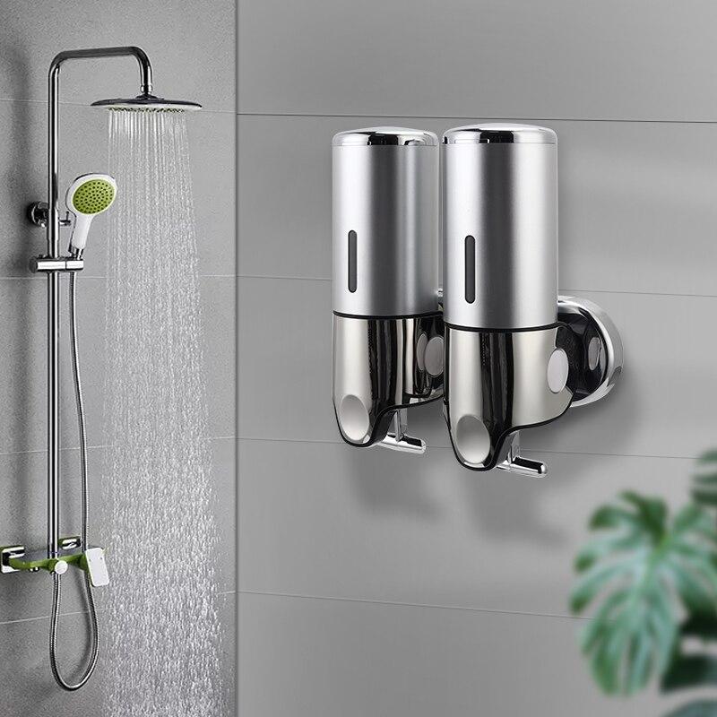 Hf8ca9c78346a4755b7b769b5231113afM Liquid Soap Dispenser Wall Mounted Shower Gel Dispensers Shampoo Container Pump Double Hand Bathroom Soap Bottle Kitchen Tools