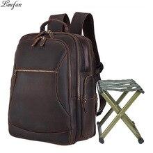 Mochila De Cuero Crazy horse de gran capacidad para hombres, mochila para portátil de 17 pulgadas con silla plegable, mochila de viaje de carga USB