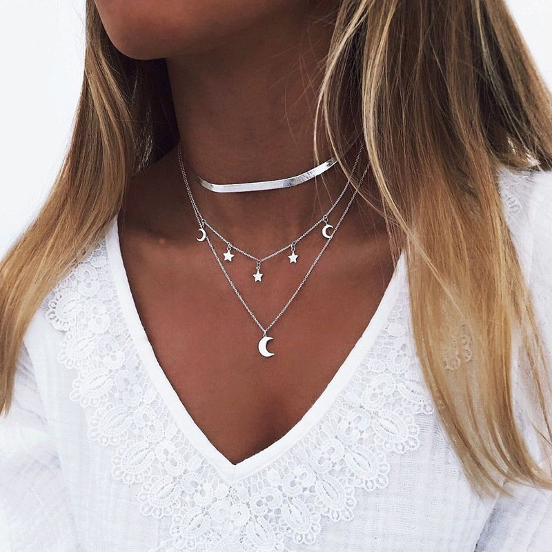 2020 NEW Lotus Necklaces Multi Layer Girl Silver Color bar Bohemia Alloy Necklace Multilayer Chain Women Collares Collier femme 4