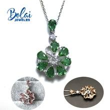 قلادة Zultanite خلق اللون تغيير الأحجار الكريمة مع 925 فضة الإبداعية زهرة قلادة bolaijewelry تعزيز