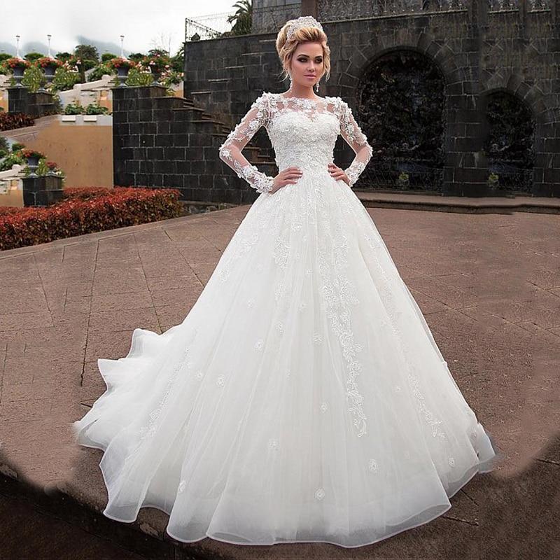 2020 Ball Gown Wedding Dress Ivory Tulle 3D Flowers Lace Appliques Plus Size Bridal Dresses Princess Bride Gown Vestido De Novia