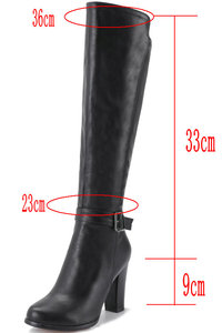 Image 5 - 2020 fashion high heels women knee high boots pu leather office ladies dress shoes spring autumn boots woman big size 34 43
