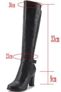 Image 5 - 2020 אופנה גבוהה עקבים נשים הברך גבוהה מגפי עור מפוצל משרד גבירותיי שמלת נעלי אביב סתיו מגפי אישה גדול גודל 34 43