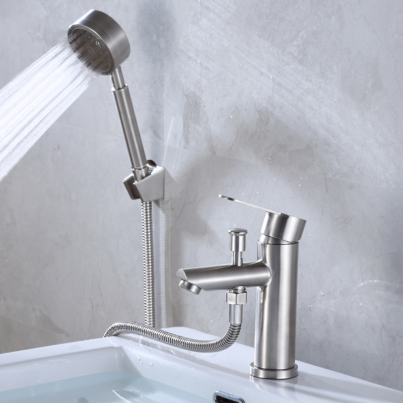 New Style 304 Stainless Steel Basin Hot And Cold Faucet With Sprayer Shower Pulling Spray Gun Triple Pulling Tap