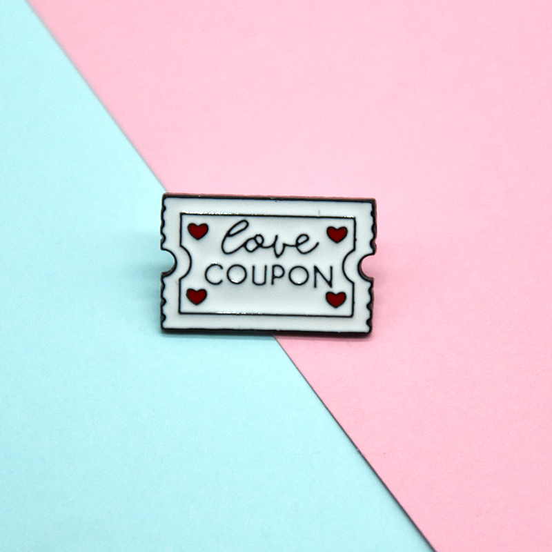 White Ticket Metal Enamel Brooch Fashion Cartoon Love Voucher Badge Pin Creative Trendy Jewelry Accessories Gift For couples
