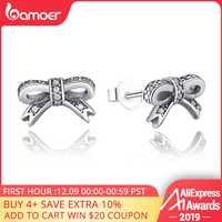 BAMOER Delicato 100% 925 Sparkling Silver Bow Orecchini con perno Con Clear CZ Delle Donne Del Partito Dei Monili di Lusso PAS407