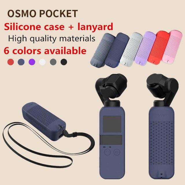 6 renkler DJI OSMO cep koruyucu seti yumuşak silikon kutu örtüsü boyun askısı İpi ile Osmo için cep el Gimbal