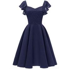 Womens Elegant Cocktail A-line Lace Dress