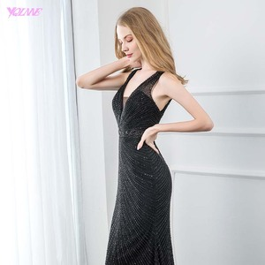 Image 4 - Sexy V Neck Black Beaded Evening Dresses 2019 Long Mermaid Backless Evening Gown Party Dress YQLNNE