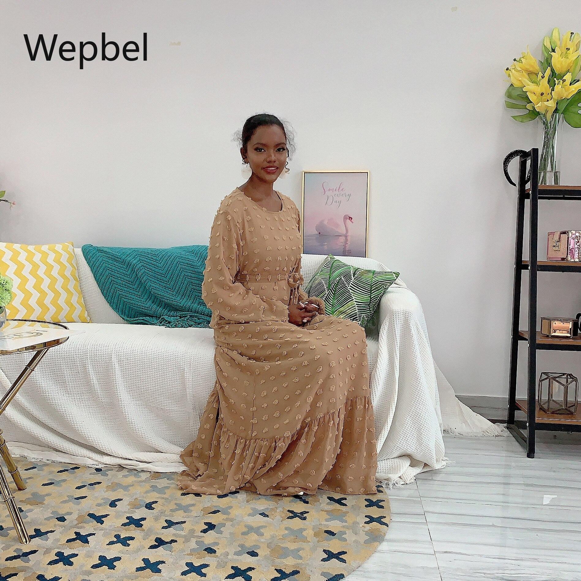 WEPBEL Muslim Women Dress Small Furry Ball Fashion Muslim Abaya Arab Duabai Plus Size High Waist O-neck Robe Gown Kimono