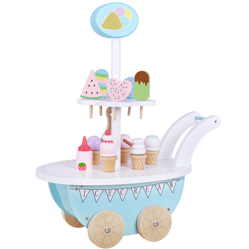 Children's Wooden Simulation Ice Cream Stroller Set Boys and Girls Wooden Play House Magnetic Slicer Toys Shopping Carts