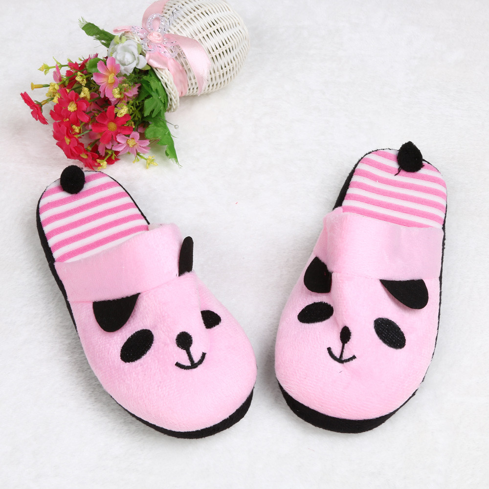 Jaycosin Lovely Cartoon Panda home slippers women Floor Soft Stripe Female shoes woman winter shoes slides Dropshiping 36-40 2