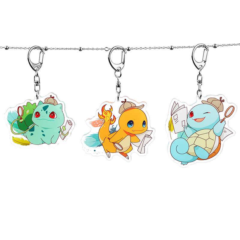 Pokemon Sleutelhanger Squirtle Pikachu Psyduck Charmander Bulbasaur Leuke Fun Cartoon Anime Acryl Sleutelhangers Rugzak Hanger Kawaii