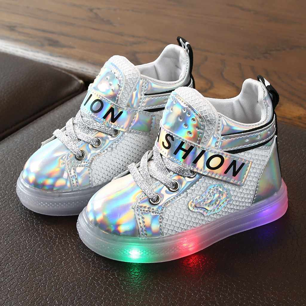 Children Baby Girls Lighted Sneakers Shoes Bling Led Luminous Sport Sneakers Short Boots Booties Shoes Zapatos De Infantil