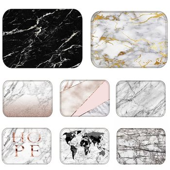 Doormat Kitchen Carpet Anti-Slip Nordic Style Marble Map Velvet Rubber Bottom Door Floor Room Dustproof Mats 48224 image