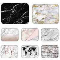 Doormat Kitchen Carpet Anti-Slip Waterproof Nordic Style Marble Map Polyester Rubber Bottom Bathroom Floor Dustproof Mats 48224