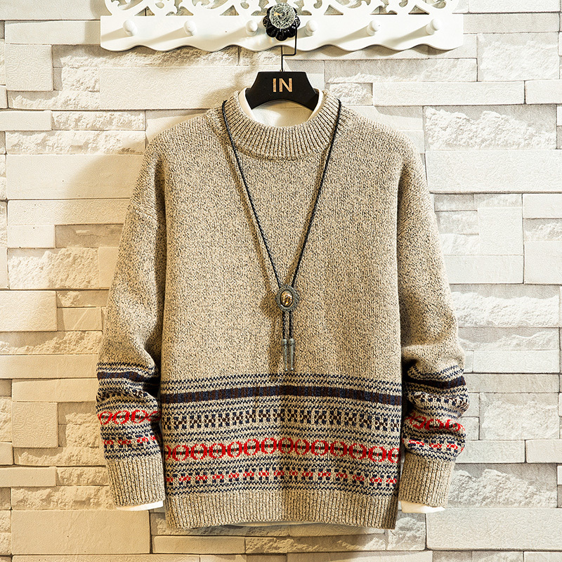 Winter Thick Sweater Men's Warm Fashion Retro Print Casual Knit Sweater Men Wild Loose Long-sleeved Pullover Male Clothes