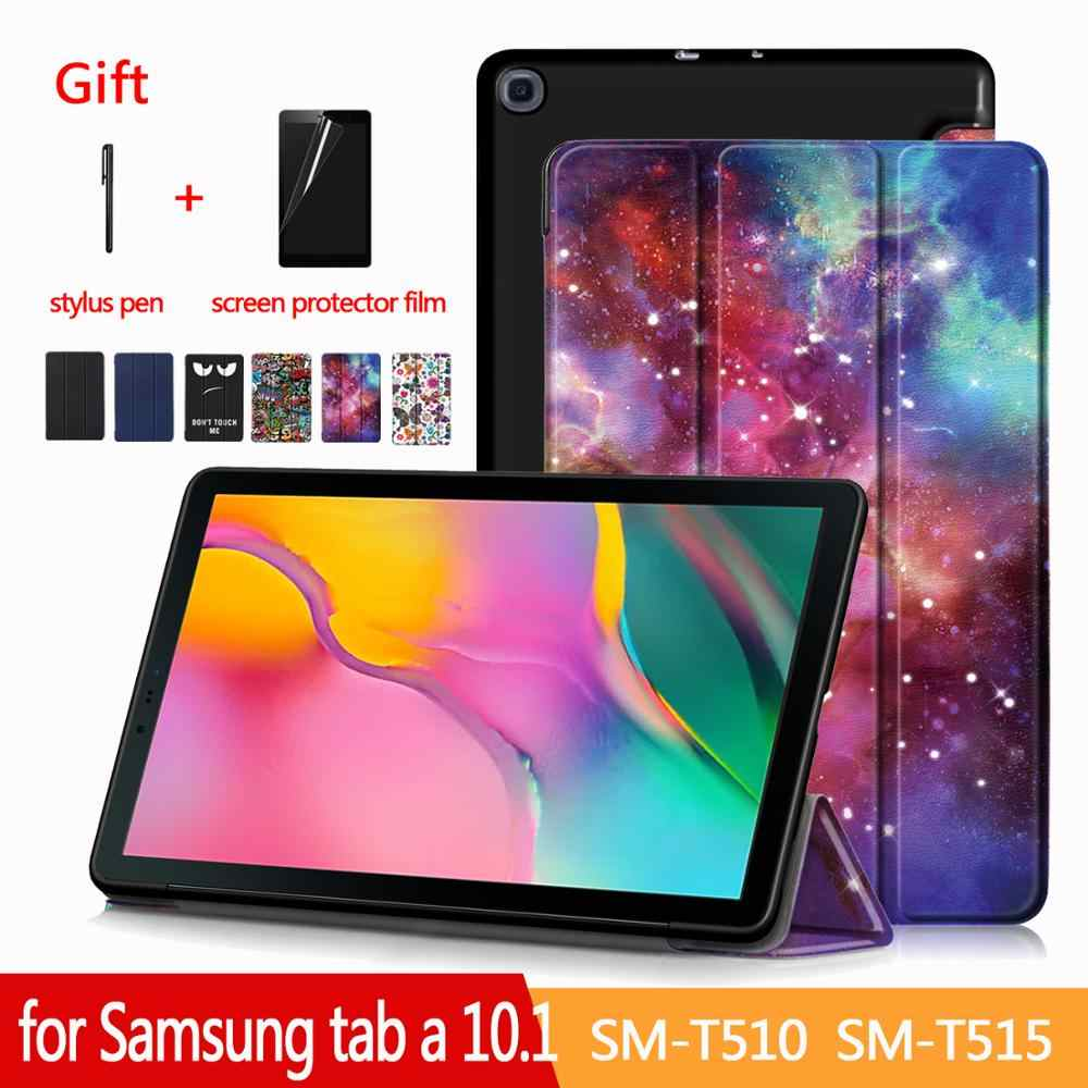 Case untuk Samsung Galaxy Tab 10.1 SM-T510/T515 Tablet Adjustable Folding Stand Cover untuk Samsung Galaxy Tab 10.1 2019 Case