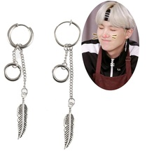 "1Pcs Kpop bangtan boys Korean Star ""SUGA"" Leaf Stud Earrings Jewelry Accessories For Women Men Bangtan"
