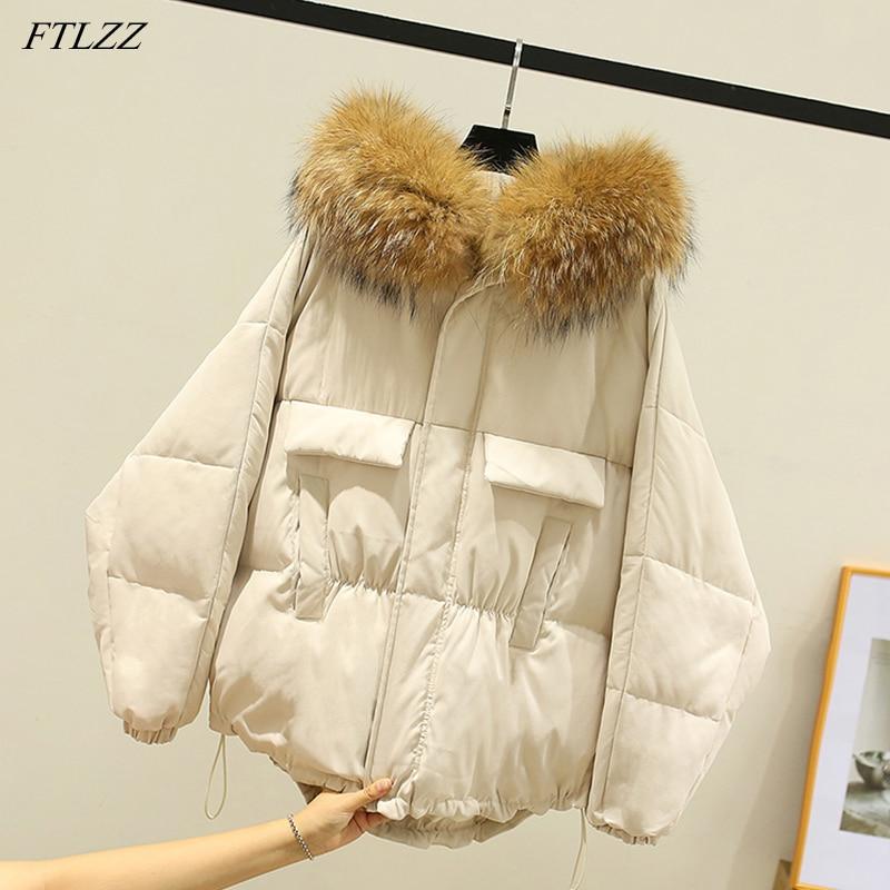 FTLZZ Winter Large Real Raccoon Fur Hooded Short Jacket Women 90% White Duck Down Coat Irregular Warm Snow Drawstring Outwear