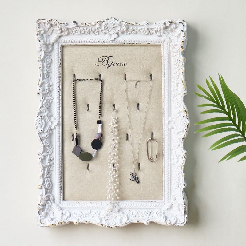Wall Retro White Photo Framed Necklace Display