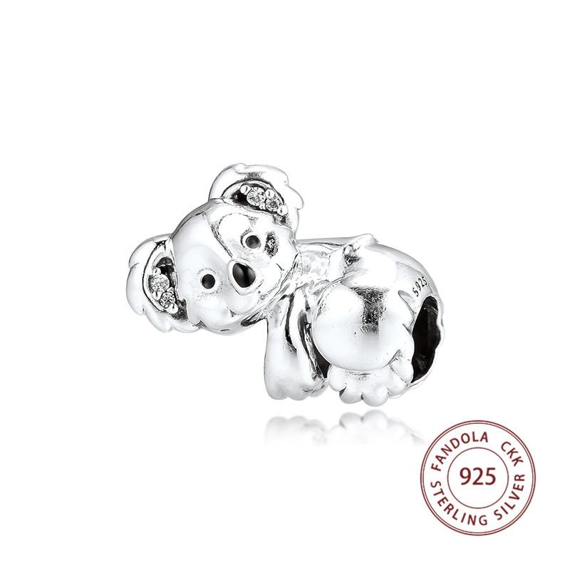 Genuine 925 Sterling Silver Cute Koala Charms Beads Fits Pandora Bracelet  Argent Women DIY Jewelry Gift Kralen