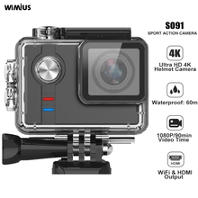 Wimius SO91 Спортивная экшн-видеокамера HD 4K 12MP Экшн-камера 60 м водонепроницаемая Wi-Fi Bluetooth Камера на шлем видео Экшн-камера