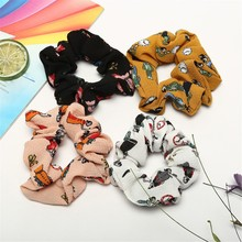 Women Scrunchie  Elastic Hair Rope cartoon print Ring Tie Ponytail Holder Band Headband Girl Accessoires