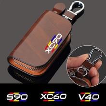 Samochód Auto akcesoria dla Volvo S90 V90 XC90 XC60 XC40 V50 V40 S60 XC70 T5 T6 samochód prawdziwej skórzane etui na klucze mężczyźni kobiety klucz Butler