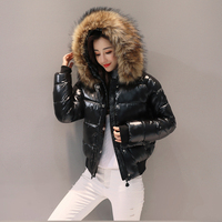 Winter jacket women parkas 2019 lady new bright coat female short paragraph down cotton padded jacket with large wool jacket.