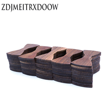 Semi manufacture 1set 50 pcs Splicing Black Walnut Wooden bow tie adults size 12cm*5.5cm Custom LOGO laser engraving OEM