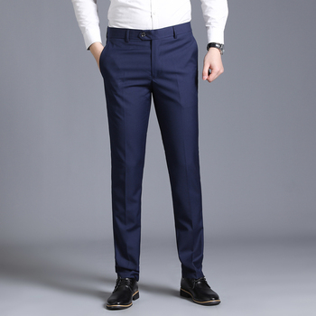 Men's Slim Suit Separate Trousers Formal Wedding Business Fashion Straight Men's Trousers Light Grey Thin Office Dress Pants