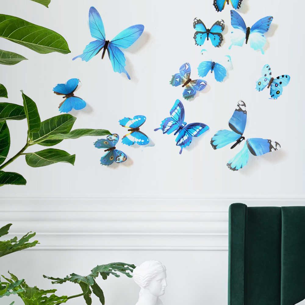 12 قطعة الفراشات الجدار ملصق الشارات ملصقات على الجدار السنة الجديدة ديكور المنزل 3D فراشة PVC خلفيات للعيش غرفة