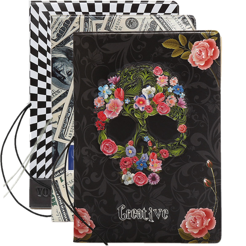 Flowers Skull Passport Cover Wallet Bag Travel Accessories Women Men PU Leather ID Address Holder Portable Boarding Card Cover