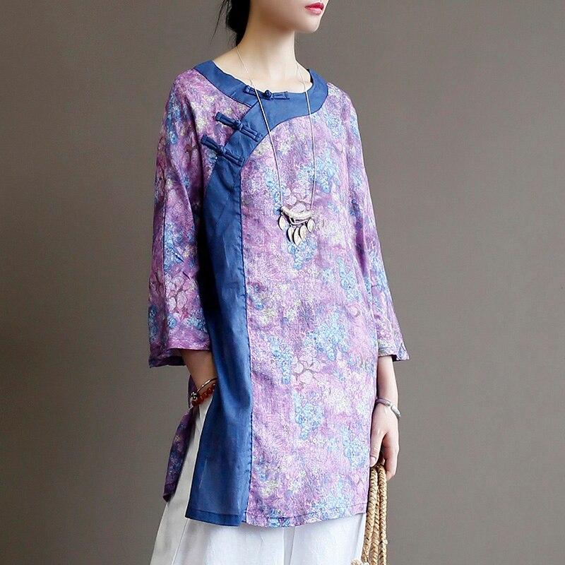 Chinese Retro Diagonal Buckle Jacket Loose Mid-length 7-sleeve Ramie Shirt Color Linen Women's Autumn