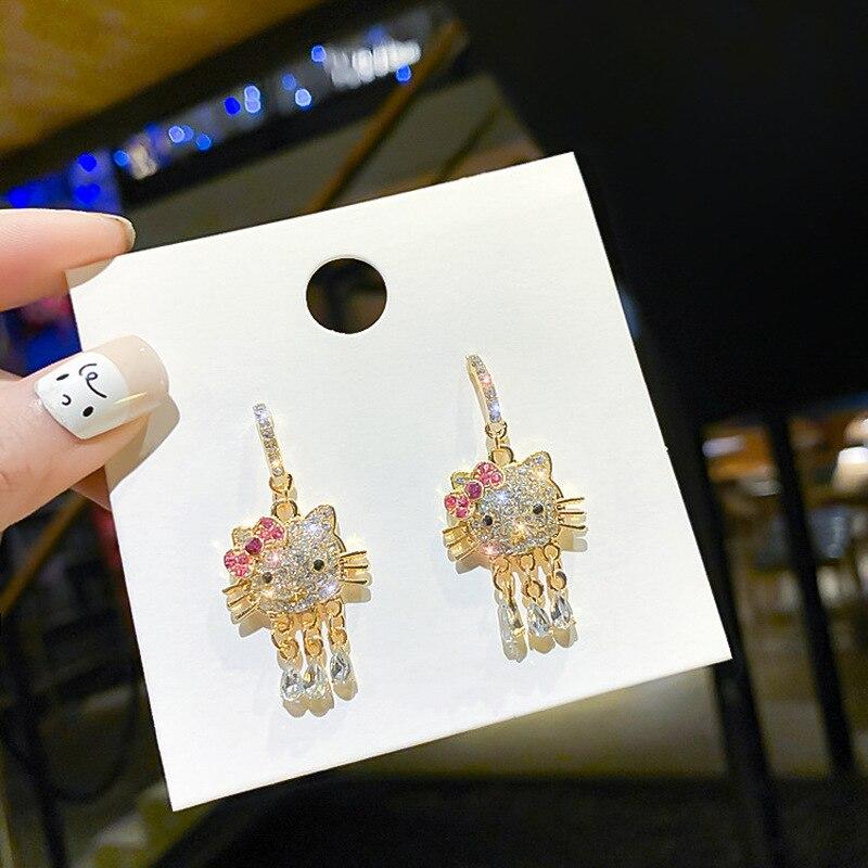 Korean Fashion Cute Kitty Rhinestones Tassel Earrings Temperament Sweet Girl Women Jewelry Accessories