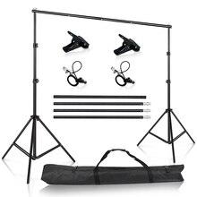 Fotoğraf stüdyosu arka planında standı taşınabilir arka plan destek kiti fotoğraf stüdyosu Muslin arka planında tuval taşıma çantası