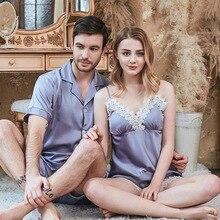 Frühling Und Sommer Neue Simulation Seide Paar Pyjamas Damen Strap Shorts männer Anzug Hause Kleidung Paare Pyjamas