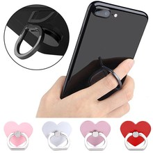 Heart Shape Mobile Phone Stand Cell Phone Holder Convenient Multi Colors Finger Grip Secure Bracket(China)