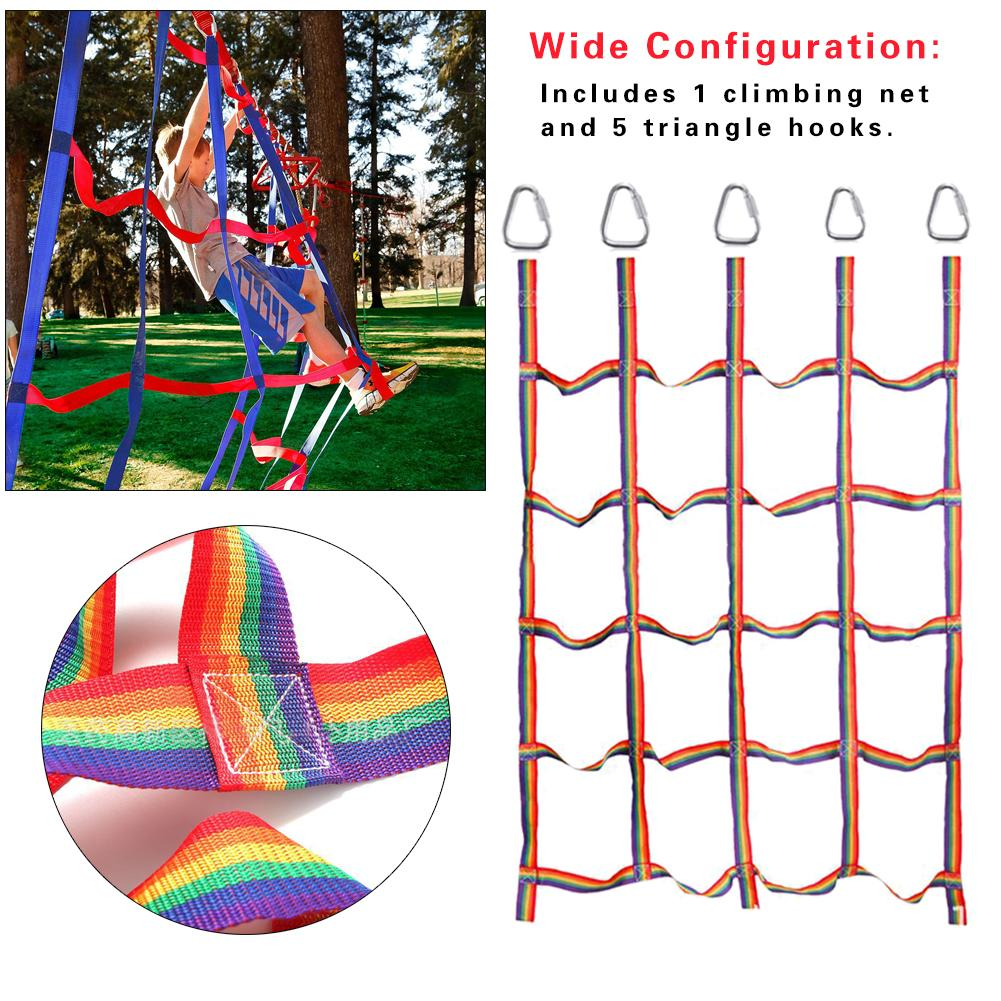 Outdoor Rainbow Ribbon Network Physical Training Climbing Net Children's Athletics Climbing Net For Daily Sports Entertainment