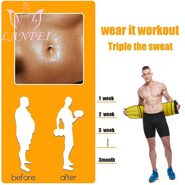 LANFEI Men Neoprene Waist Trainer Corset Sauna Slimming Body Shaper Cincher Sweat Girdle Belt Weight Loss Tummy Control Strap 2