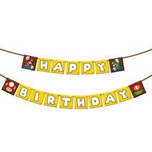 Super Mario Banner Maker Jogo de Super-heróis Balões Feliz Aniversário Bandeira Decorações Do Partido Do Chuveiro Do Bebê Luigi Bros