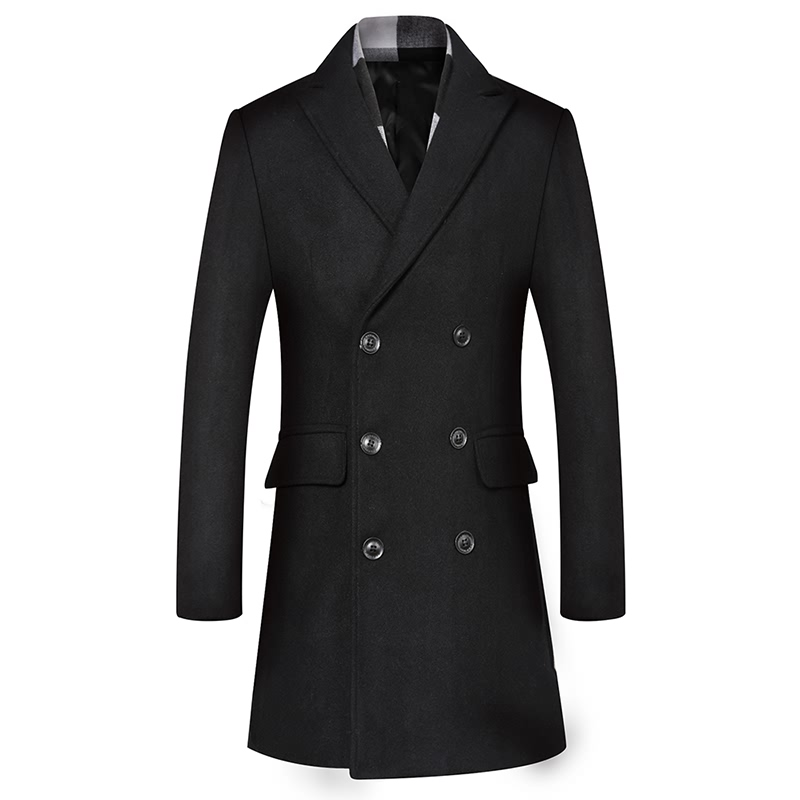 Winter Wool Coat Men Double Breasted Overcoats British Style Trench coat Men Pea Coat Woolen Blends Jacket Without Scarf