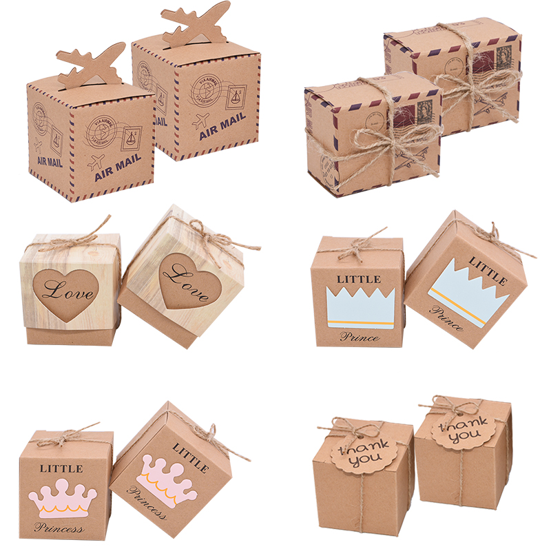 10Pcs Gift Boxes Kraft Paper Candy Box Wedding Favors Baby Shower Decoration Boy Or Girl Gender Reveal Birthday Party Supplies