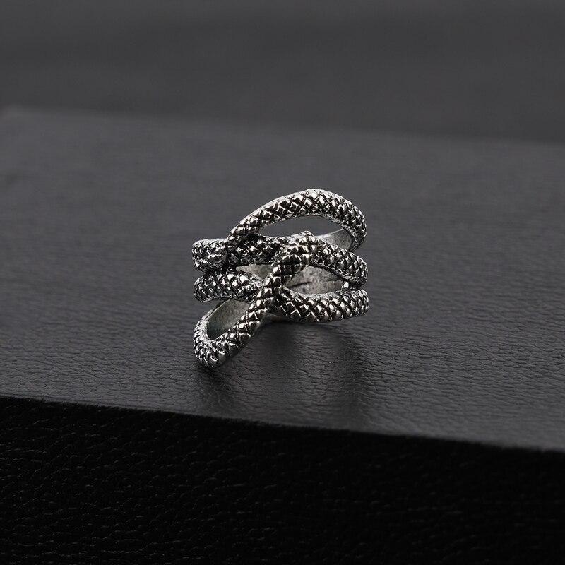 Sindlan преувеличенное винтажное серебряное кольцо в виде змеи для мужчин, Крутое модное мужское кольцо в стиле панк, от 17 мм до 21 мм, мужское кольцо в виде животного