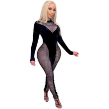 2021 Spring Women Jumpsuit Sheer Mesh Color Patchwork Sportswear Bodycon Skinny Long Rompers Womens Jumpsuit Outfit