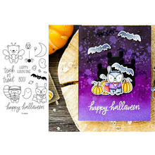 Happy Halloween Haunting Words Makeup Bear Bat Spider Moon Transparent Clear Stamps for DIY Scrapbooking Cards Crafts 2019 New